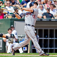 Chicago, IL - June 05, 2011:  Detroit Tigers, Andy Dirks (12), bats against the White Sox at U.S. Cellular Field on June 5, 2011 in Chicago, IL.