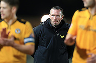 Michael Appleton, the Oxford Utd manager looks on. Skybet football league two match, Newport county v Oxford Utd at Rodney Parade in Newport, South Wales on Tuesday 19th April 2016.<br /> pic by Andrew Orchard, Andrew Orchard sports photography.