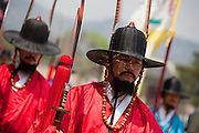 The ceremony of opening and closing the main palace gate and gate guard change at Gwanghwamun of Gyeongbokgung Palace, the main royal palace of Joseon Dynasty, the spectacle is based on the formality from the early 15th century. / Seoul, South Korea, Republic of Korea, KOR, 25 April 2010.