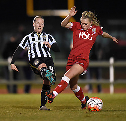 Notts County Ladies FC's Danielle Buet avoids a tackle from Millie Farrow of Bristol City Women - Mandatory by-line: Paul Knight/JMP - Mobile: 07966 386802 - 23/02/2016 -  FOOTBALL - Stoke Gifford Stadium - Bristol, England -  Bristol City Women v Notts County Ladies - Pre-season friendly