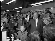 15/05/1982<br /> 05/15/1982<br /> 15 May 1982<br /> An Taoiseach, Mr Charles Haughey, canvasing with Fianna Fail bye-election candidate Eileen Lemass in Dublin West. Image shows Haughey and Lemass canvassing the the Superquinn supermarket in the Superquinn Centre, Blanchardstown.