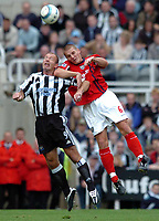 Photo: Back Page Images. 25/09/2004.<br /> Barclays Premiership. Newcastle United v W.B.A.<br /> Alan Shearer and Darren Purse