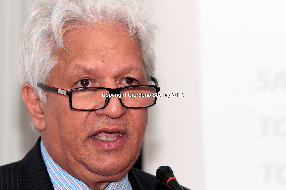DURBAN - 4 May 2016 - Nazir Alli, the chief executive of the South African National Road Agency Limited (Sanral) speaks at a business breakfast in Durban, where he informs businessmen attending that the South Africa's KwaZulu-Natal province will not see the controversial electronic tolling systtem implemented unless the numbers of vehicles in the province increase dramatically. Commonly known as e-tolls, the system was implemented in Gauteng Province and there has been much opposition, including unsuccessful court challenges. Picture: Allied Picture Press/APP