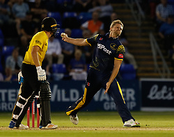 Glamorgan's Timm van der Gugten bowls<br /> <br /> Photographer Simon King/Replay Images<br /> <br /> Vitality Blast T20 - Round 8 - Glamorgan v Gloucestershire - Friday 3rd August 2018 - Sophia Gardens - Cardiff<br /> <br /> World Copyright © Replay Images . All rights reserved. info@replayimages.co.uk - http://replayimages.co.uk