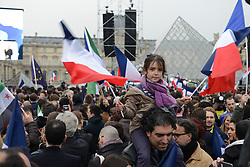 Atmosphere at Louvre Museum courtyard as Emmanuel Macron election is announced, in Paris, France, on May 7, 2017. Photo by Ammar Abd Rabbo/ABACAPRESS.COM