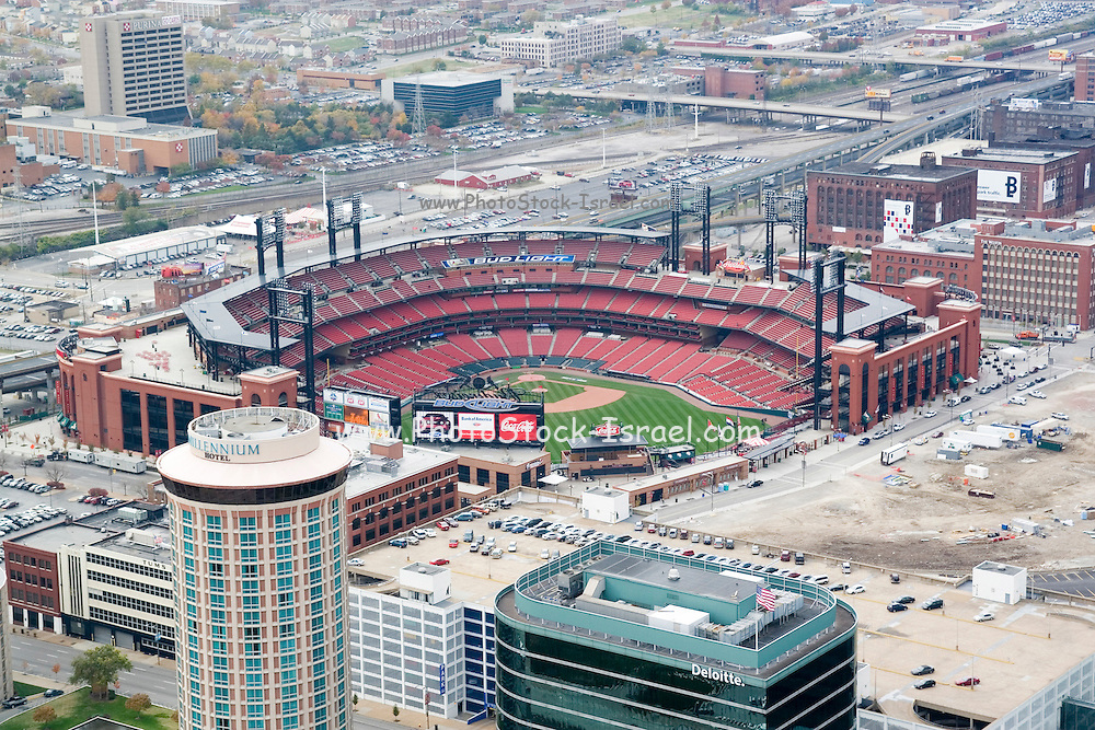 St. Louis Missouri MO USA, The view from the Gateway Arch observation deck - Southwest to Busch Stadium home of St. Louis baseball team the Cardinals. October 2006