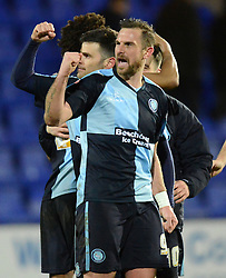 Wycombe Wanderers's Paul Hayes and his team-mates celebrate at the end of the match - Photo mandatory by-line: Richard Martin-Roberts/JMP - Mobile: 07966 386802 - 03/03/2015 - SPORT - football - Tranmere - Prenton Park - Tranmere Rovers v Wycombe Wanderers - Sky Bet League Two