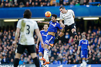Chelsea's Diego Costa vies for possession with Everton's Phil Jagielka<br /> <br /> Photographer Craig Mercer/CameraSport<br /> <br /> Football - Barclays Premiership - Chelsea v Everton - Saturday 16th January 2016 - Stamford Bridge - London<br /> <br /> © CameraSport - 43 Linden Ave. Countesthorpe. Leicester. England. LE8 5PG - Tel: +44 (0) 116 277 4147 - admin@camerasport.com - www.camerasport.com