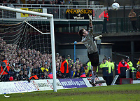 Photo: Scott Heavey<br />Watford V Burnley. 09/03/03.<br />Burnley goal-keeper Marlon Beresford can do nothing about Stephen Glass' winner during this FA Cup quarter final between these two first division teams.