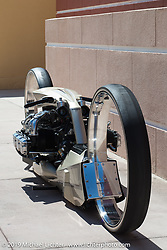 The TMC Dumont double hub-less designed by Tarso Marques of Brazil utilizing a 1964 Rolls Royce Continental 506 cubic inch aircraft was entirely hand fabricated by Tarso's team in his workshop. Photographed on the streets of Daytona Beach during Bike Week. FL, USA. Sunday March 18, 2018. Photography ©2018 Michael Lichter.