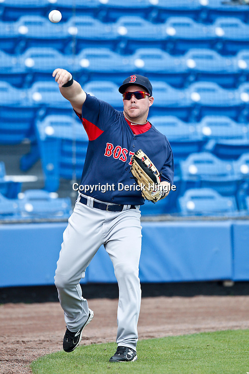 March 6, 2011; Port St. Lucie, FL, USA; Boston Red Sox outfielder Juan Carlos Linares (86) before a spring training exhibition game against the New York Mets at Digital Domain Park.  Mandatory Credit: Derick E. Hingle