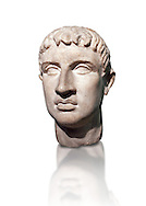 Roman head sculpture in the 'Italic cubism ' style, 2nd - 3rd century BC, found in the foundations of the Ministery of Finance on the via XX Septembre, Rome. The head, the back of which was not completed, shows markedly realistic, clear features. The style, a blend of Greek art and Italic traditions, is traceable to Etruscan portraiture of the so called 'Italic cubism' of the 3rd century BC, and local stone used was well suited to this genre. It is believed to be the only known example of this style and has been roughly dated to between the 3rd and 2nd century BC. The National Roman Museum, Rome, Italy .<br /> <br /> If you prefer to buy from our ALAMY PHOTO LIBRARY  Collection visit : https://www.alamy.com/portfolio/paul-williams-funkystock/roman-museum-rome-sculpture.html<br /> <br /> Visit our ROMAN ART & HISTORIC SITES PHOTO COLLECTIONS for more photos to download or buy as wall art prints https://funkystock.photoshelter.com/gallery-collection/The-Romans-Art-Artefacts-Antiquities-Historic-Sites-Pictures-Images/C0000r2uLJJo9_s0