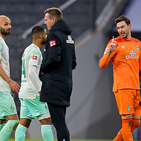 21.11.2020, Allianz Arena, Muenchen, GER,  FC Bayern Muenchen SV Werder Bremen <br /> <br /> <br />  im Bild mit Jiri Pavlenka (SV Werder Bremen #1) <br /> <br /> <br /> <br /> Foto © nordphoto / Straubmeier / Pool/ <br /> <br /> DFL regulations prohibit any use of photographs as image sequences and / or quasi-video.