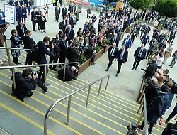 (c) Licensed to London News Pictures. <br /> 03/10/2017<br /> Manchester, UK<br /> <br /> Foreign Secretary Boris Johnson arrives to deliver his speech at the Conservative Party Conference held at the Manchester Central Convention Complex.<br /> <br /> Photo Credit: Ian Forsyth/LNP