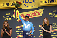 Podium, Hotess, Miss, Nairo Quintana (COL - Movistar) winner during the 105th Tour de France 2018, Stage 17, Bagneres de Luchon - Col du Portet (65 km) on July 25th, 2018 - Photo Luca Bettini / BettiniPhoto / ProSportsImages / DPPI