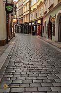Narrow wet cobblestone streets in Old Town in Prague, Czech Republic