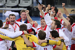 Team of Poland and Head coach of Poland Bogdan Wenta celebrates after winning the 21st Men's World Handball Championship 2009 Bronze medal match between National teams of Poland and Denmark, on February 1, 2009, in Arena Zagreb, Zagreb, Croatia.  Won of Poland 31:23. (Photo by Vid Ponikvar / Sportida)