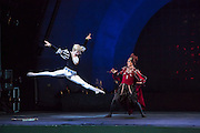 Siegfreid intimidates Von Rothbart in Les Ballets Trockadero de Monte Carlo production of Swann Lake at Celebrate Brooklyn.