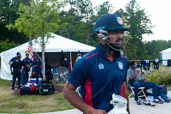 September 22, 2018 - Morrisville, North Carolina, US - Sept. 22, 2018 - Morrisville N.C., USA - Team USA MONANK PATEL (15) stretches before the ICC World T20 America's ''A'' Qualifier cricket match between USA and Canada. Both teams played to a 140/8 tie with Canada winning the Super Over for the overall win. In addition to USA and Canada, the ICC World T20 America's ''A'' Qualifier also features Belize and Panama in the six-day tournament that ends Sept. 26. (Credit Image: © Timothy L. Hale/ZUMA Wire)