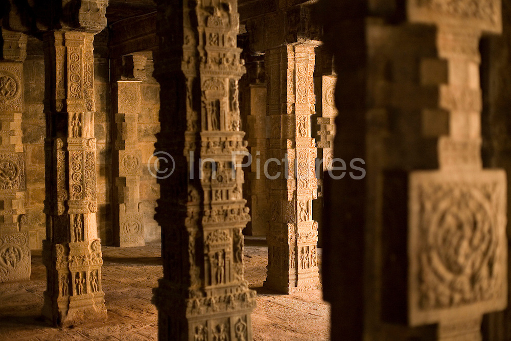 Details of pillars in the Airatesvara Temple in Dharasuram, Kumbakonam, Tamil Nadu, India.The temple, constructed by Rajaraja II (r 1146-63) is a superb example of twelfth century Chola architecture and it's art depicts Shive in the rare incarnation as Kankalamurti, the mendicant