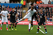 Fernando Llorente of Swansea city © jumps for a header with Ashley Williams of Everton. Premier league match, Swansea city v Everton at the Liberty Stadium in Swansea, South Wales on Saturday 6th May 2017.<br /> pic by  Andrew Orchard,