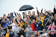 Newport fans celebrate Andy Sandell's goal  Skybet League two match, Newport county v Bristol Rovers at Rodney Parade in Newport, South Wales on Saturday 17th August 2013.  pic by Phil Rees ,Andrew Orchard sports photography,