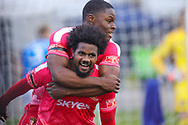 Goal Hayes and Yeading Omar Rowe (7) scores and celebrates the first goal during the The FA Cup match between Hayes and Yeading and Carlisle United at the SkyEx Community Stadium, hayes, United Kingdom on 8 November 2020.