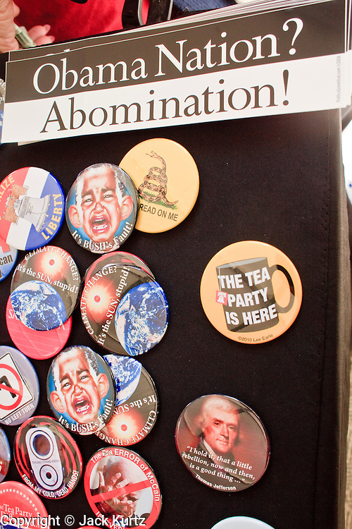 Feb. 17, 2010 -- GOLD CANYON, AZ: Campaign buttons for sale at a JD Hayworth campaign rally in Gold Canyon, AZ. Hayworth, a former television sports anchor and an ultra conservative former Representative who lost his congressional seat to a moderate Democrat in 2006, is running in the Republican primary against long serving Republican Senator John McCain. Hayworth is popular with the Tea Party activists of the Phoenix suburbs.  Photo By Jack Kurtz