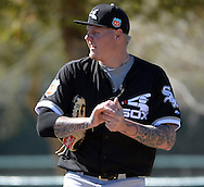 GLENDALE, ARIZONA - FEBRUARY 24:  Mat Latos #38 of the Chicago White Sox looks on during spring training workouts on February 24, 2015 at Camelback Ranch in Glendale Arizona.  (Photo by Ron Vesely)    Subject:  Mat Latos