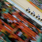 Track Cycling - Olympics: Day 8  Beatrice Bartelloni #204, Tatiana Guderzo #206, Francesca Pattaro #207 and Silvia Valsecchi #208 of Italy in action in the Women's Team Pursuit Finals during the track cycling competition at the Rio Olympic Velodrome August 12, 2016 in Rio de Janeiro, Brazil. (Photo by Tim Clayton/Corbis via Getty Images)