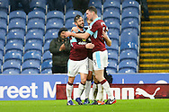 Steven Defour of Burnley (l) celebrates with his teammates after scoring his teams 2nd goal. The Emirates FA cup 4th round match, Burnley v Bristol City at Turf Moor in Burnley, Lancs on Saturday 28th January 2017.<br /> pic by Chris Stading, Andrew Orchard Sports Photography.