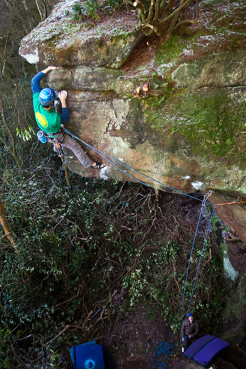 Tom Randall on the first ascent of 'Captain Cutloose' E7 6c at Rainroach Rock, England