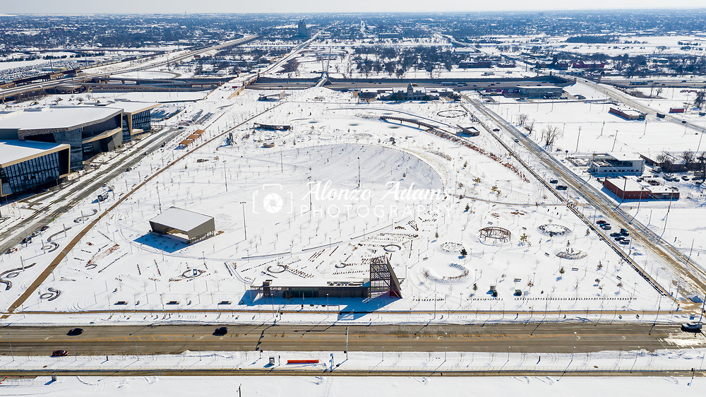 Scissortail Park covered in a blanket of snow on Thursday, Feb. 18, 2021. Photo copyright © 2021 Alonzo J. Adams.