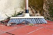 broom with fall leaves on tile flooring