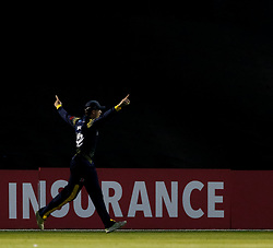 Glamorgan's Aneurin Donald celebrates a catch removing Gloucestershire's Ryan Higgins (not pictured) <br /> <br /> Photographer Simon King/Replay Images<br /> <br /> Vitality Blast T20 - Round 8 - Glamorgan v Gloucestershire - Friday 3rd August 2018 - Sophia Gardens - Cardiff<br /> <br /> World Copyright © Replay Images . All rights reserved. info@replayimages.co.uk - http://replayimages.co.uk