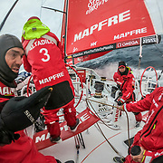 Leg 3, Cape Town to Melbourne, day 09, Xabi Fernandez, Guillermo Altadill Fisher, Rob Greenhalgh and Sophie Ciszek on board MAPFRE. Photo by Jen Edney/Volvo Ocean Race. 18 December, 2017.
