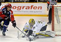 Ishockey , 27. november 2008 , eliteserien , oilers - vålerenga<br /> Lars Erik Spets , Vålerenga<br /> Andrè Lysenstøen , Oilers<br /> Foto: Tommy Ellingsen, Digitalsport