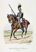 Mounted officerof the bodyguard of the heir to the throne, 1820-1824.  From 'Histoire de la maison militaire du Roi de 1814 a 1830' by Eugene Titeux, Paris, 1890.