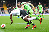 Neeskens Kebano of Fulham being fould by Conor Coady of Wolverhampton Wanderers during the Sky Bet Championship match at Craven Cottage, London<br /> Picture by Richard Brooks/Focus Images Ltd 07947656233<br /> 18/03/2017