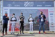 Foto Massimo Paolone/LaPresse <br /> 17 ottobre 2021 Roma, Italia <br /> sport <br /> Roma Ostia Half Marathon 2021<br /> Nella foto: la vincitrice della gara donne Joyce Chepkemoi Tele, Betty Chepkemoi Kibet e Gloria Kite durante la cerimonia di premiazione<br /> <br /> Photo Massimo Paolone/LaPresse <br /> October 17, 2021 Rome, Italy <br /> sport <br /> Roma Ostia Half Marathon 2021 <br /> In the pic: women's race winner Joyce Chepkemoi Tele, Betty Chepkemoi Kibet and Gloria Kite during the award ceremony