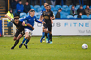 Mansfield Town forward Nicky Maynard challenge the opponent  during the EFL Sky Bet League 2 match between Macclesfield Town and Mansfield Town at Moss Rose, Macclesfield, United Kingdom on 16 November 2019.