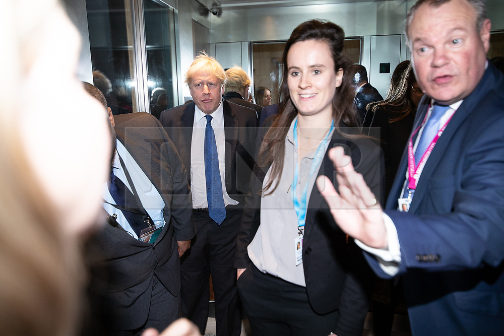 © Licensed to London News Pictures . 02/10/2018. Birmingham, UK. BORIS JOHNSON arrives at the conference and gets in to a lift at the Regency Hyatt Hotel on day 3 of the Conservative Party conference at the ICC in Birmingham . Photo credit: Joel Goodman/LNP