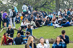 © Licensed to London News Pictures. 20/04/2021. Manchester , UK. Crowds gather at Platt Fields Park in South Manchester as warmer weather, an easing of Coronavirus lockdown rules and 420 day converge. Photo credit: Joel Goodman/LNP