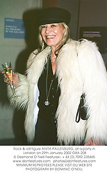 Rock & roll figure ANITA PALLENBURG, at a party in London on 29th January 2002.OXA 208