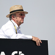 Sprint Cup owner Jack Roush looks at his drivers on the track from his hauler at Daytona International Speedway on February 18, 2011 in Daytona Beach, Florida. (AP Photo/Alex Menendez)