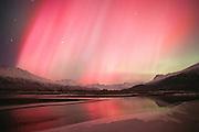 Alaska. Palmer. Aurora borealis or northern lights. Hues of pink glow above Knik River and Chugach Mts.