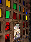 Stained glass windows are a feature of the City Palace in Udaipur, Rajasthan, India <br /> <br /> Editorial & Non-Commercial use only