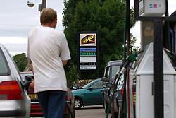 Petrol hits £1 per litre - 104 pence per litre at a petrol station in Yorkshire September 2005 UK