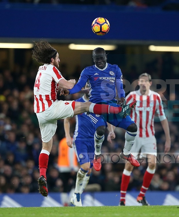 Chelsea's N'Golo Kante tussles with Stoke's Joe Allen during the Premier League match at Stamford Bridge Stadium, London. Picture date December 31st, 2016 Pic David Klein/Sportimage