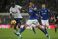 Cenk Tosun of Everton attempts to win the ball from Davison Sanchez of Tottenham Hotspur (l). <br /> Premier league match, Tottenham Hotspur v Everton at Wembley Stadium in London on Saturday 13th January 2018.<br /> pic by Kieran Clarke, Andrew Orchard sports photography.
